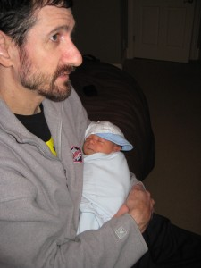 Evan holding Sawyer