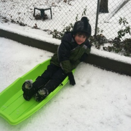 little boy sledding